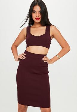 Burgundy Bandage Style Midi Skirt Co Ord
