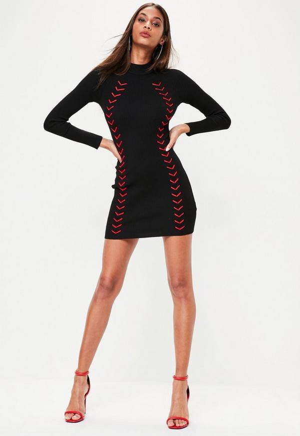 Schwarzes Langarm-Kleid mit Kontrast Lace-Up | Missguided