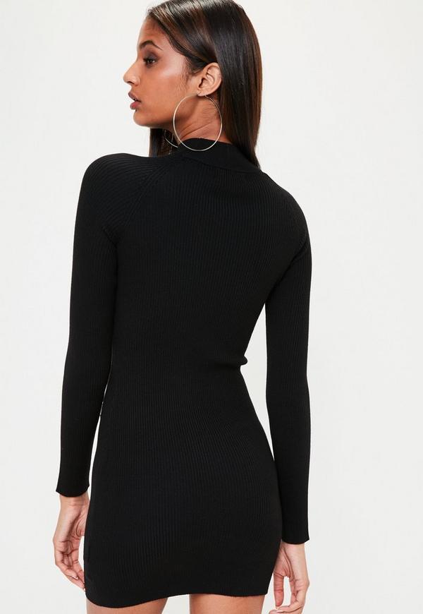 schwarzes langarm kleid mit kontrast lace up missguided. Black Bedroom Furniture Sets. Home Design Ideas