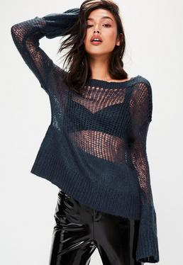 Blue Grunge Knitted Oversized Sweater