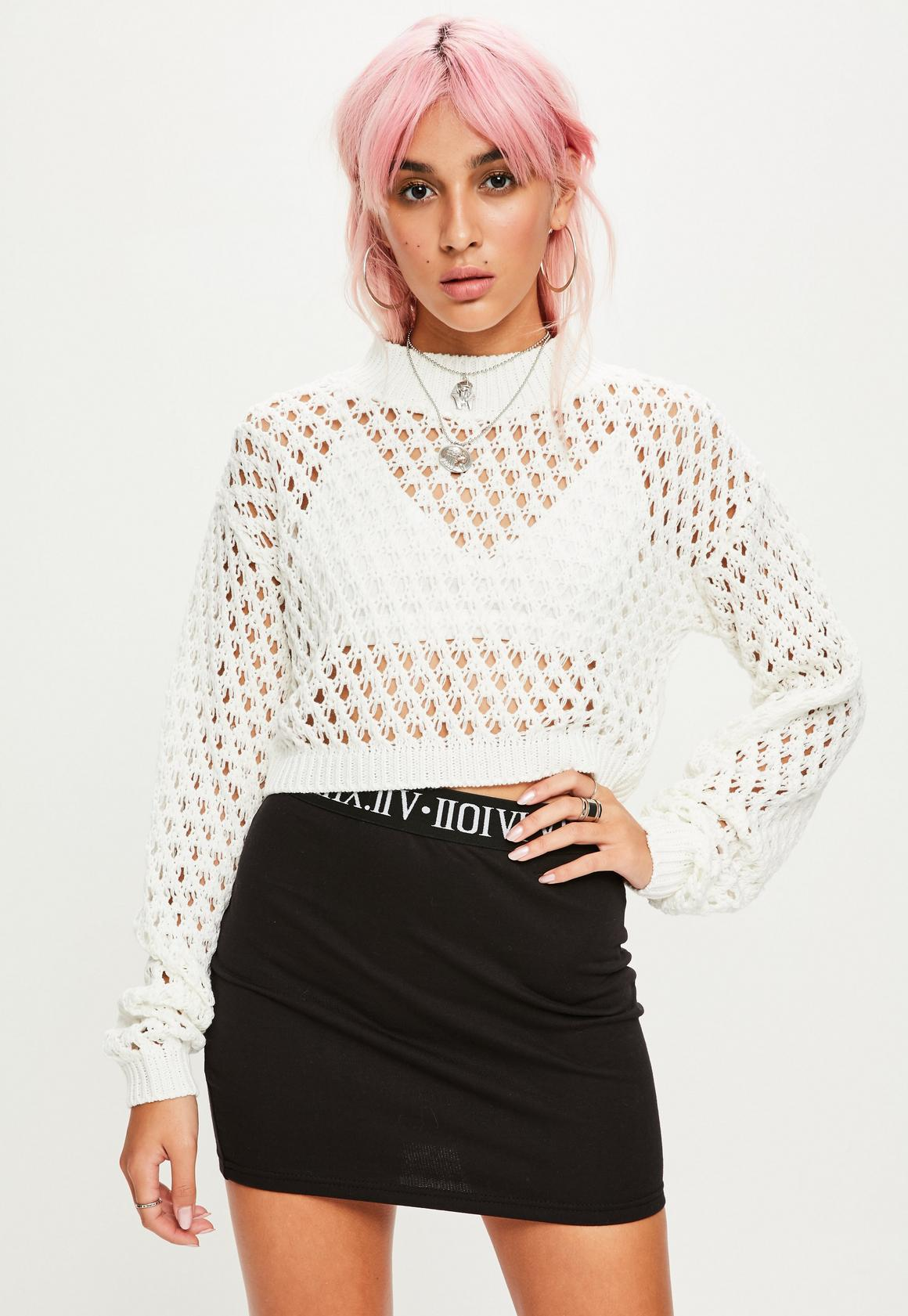 White High Neck Open Knit Cropped Sweater | Missguided