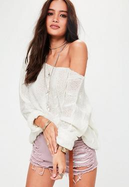 Cream Off Shoulder Cable Knitted Sweater
