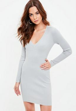 Gray Bodycon Knitted Dress
