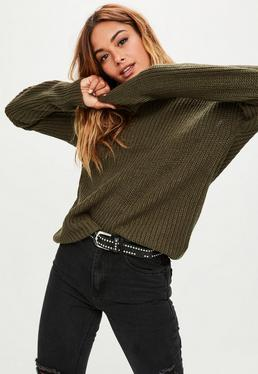 Khaki Off Shoulder Knitted Sweater
