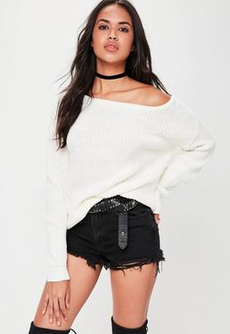 Cream Off Shoulder Knitted Sweater