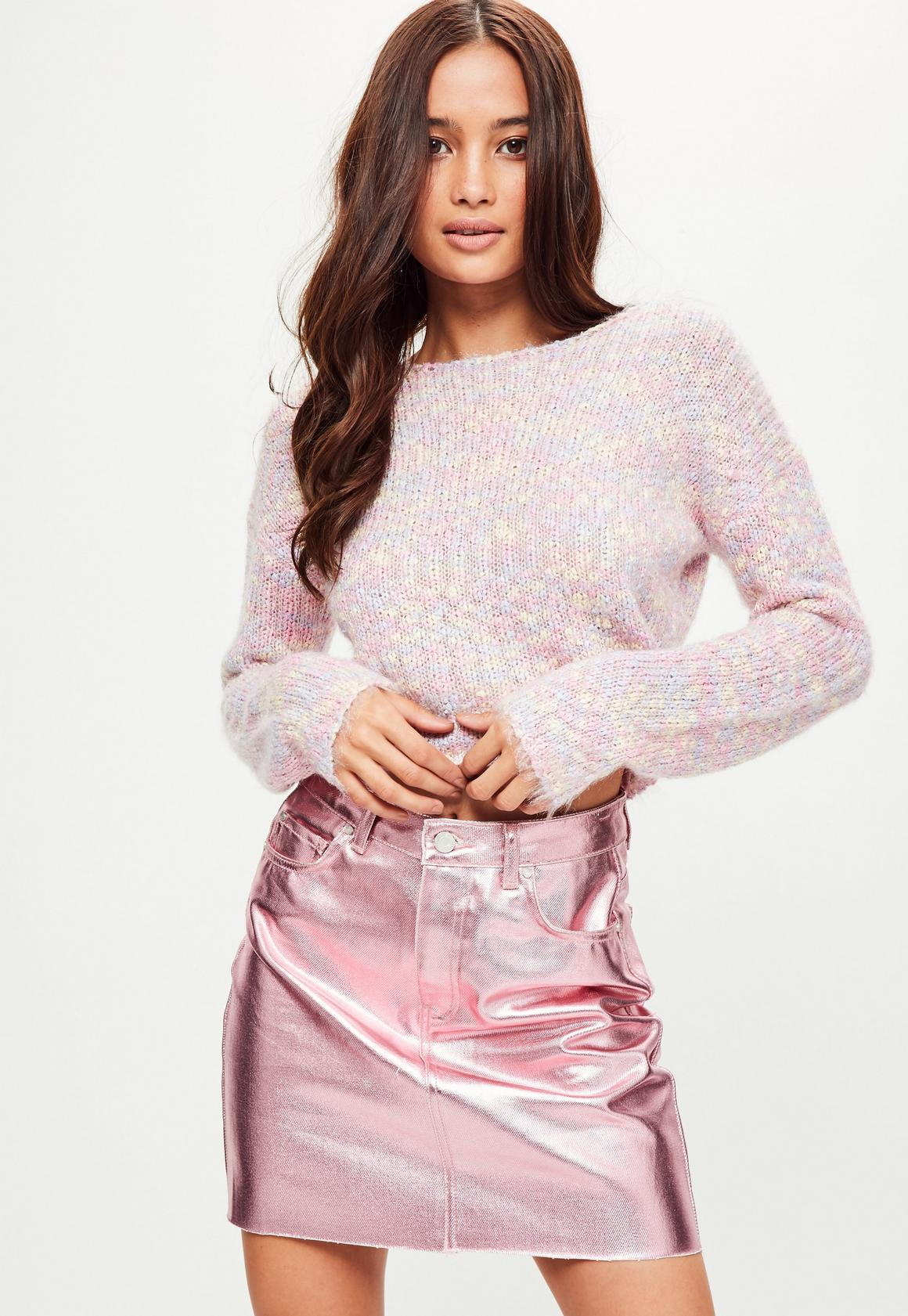 Pink Fluffy Cropped Sweater | Missguided
