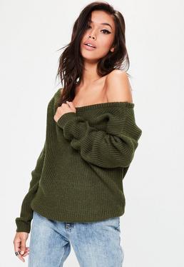 Khaki Off Shoulder Knitted Jumper