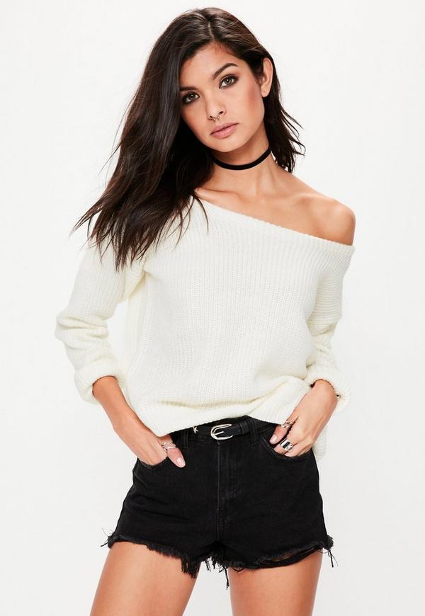 Cream Off Shoulder Knitted Jumper