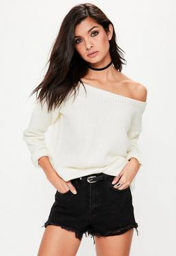 Off-Shoulder Strickpullover in Ecru