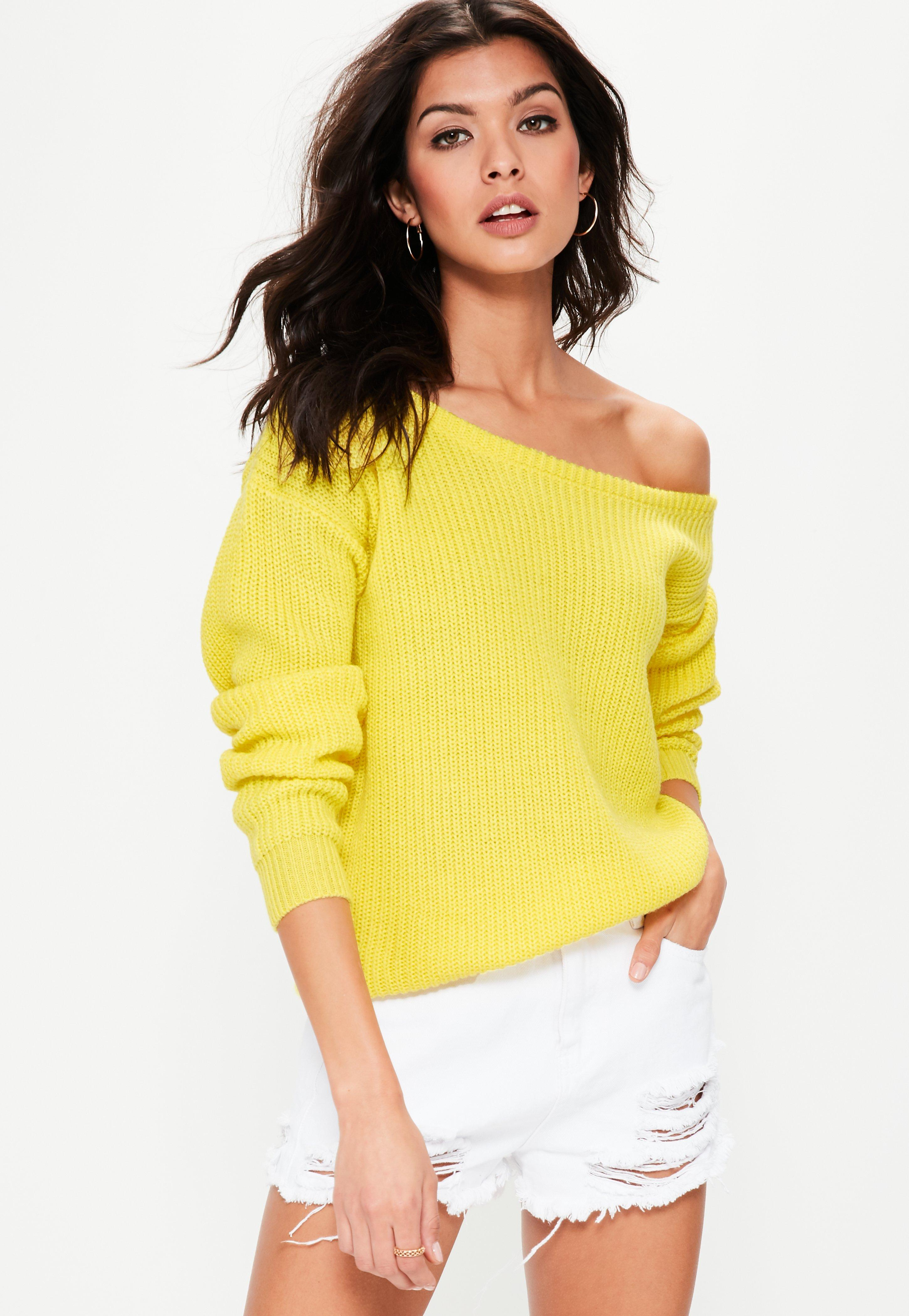 Yellow Off Shoulder Knitted Sweater | Missguided