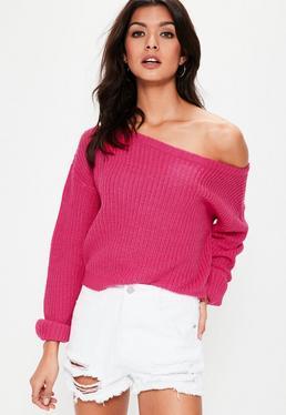 Pink Off Shoulder Cropped Knitted Jumper