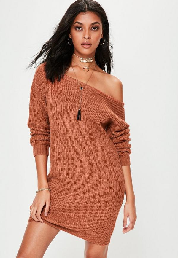 Brown Off Shoulder Knitted Sweater Dress | Missguided