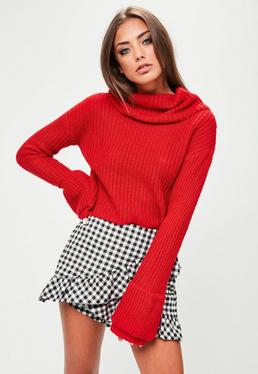 Red Open Stitch Roll Neck Knitted Jumper