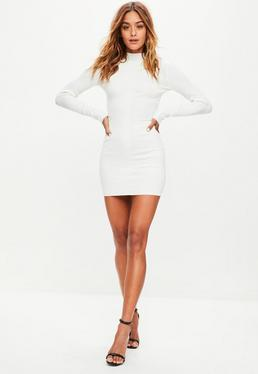 White Ribbed Detail Mini Dress