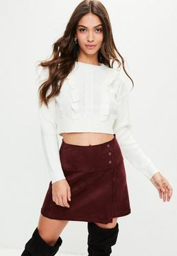 White Knitted Frill Detail Crop Sweater