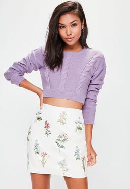 Purple Cable Detail Cropped Knitted Sweater