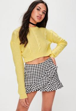 Yellow Cable Knit Crop Sweater