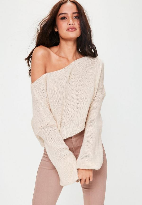 Cream Off Shoulder Balloon Sleeve Cropped Jumper