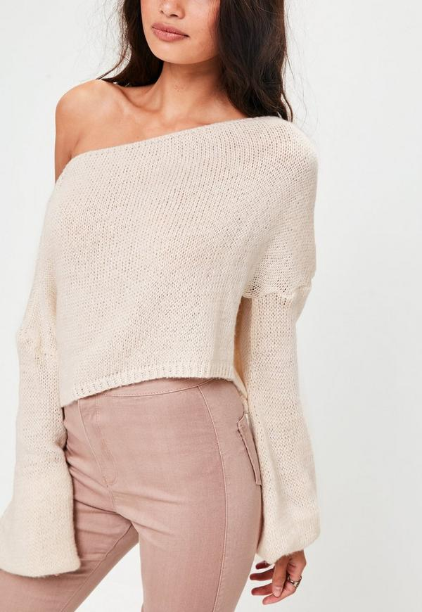 Cream Off Shoulder Balloon Sleeve Cropped Sweater | Missguided