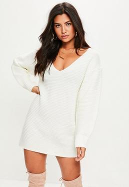 White V Front Knitted Dress