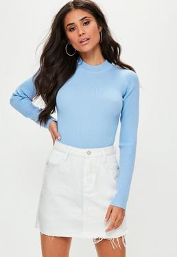 Blue Ribbed Bodysuit Top
