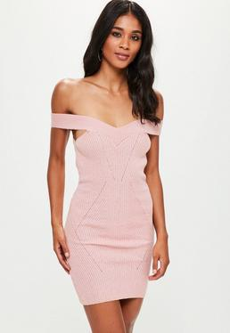 Pink Stitch Detail Bardot Knitted Mini Dress