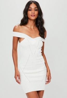 Cream Stitch Detail Bardot Mini Jumper Dress