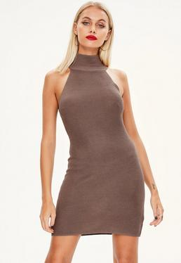 Brown High Neck Knitted Mini Dress