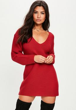 Vestido de punto con escote en V en rojo