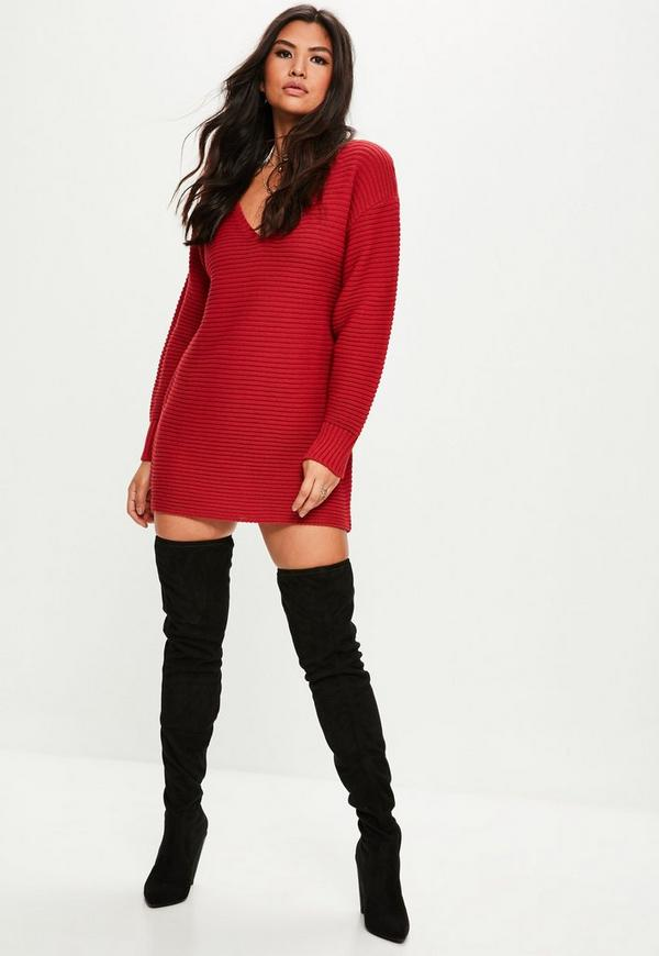 Red V Front Knitted Jumper Dress Missguided