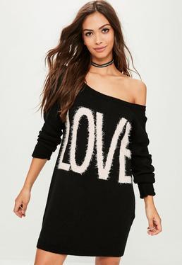 Czarna swetrowa sukienka Love