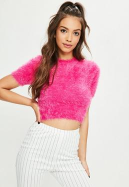 Pink Fluffy Knitted T Shirt