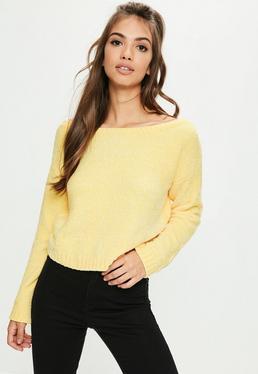 Żółty krótki szenilowy sweter