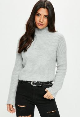 Gray Cosy Knitted Ribbed High Neck Sweater