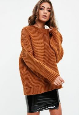 Brown Knitted Drop Shoulder Sweater