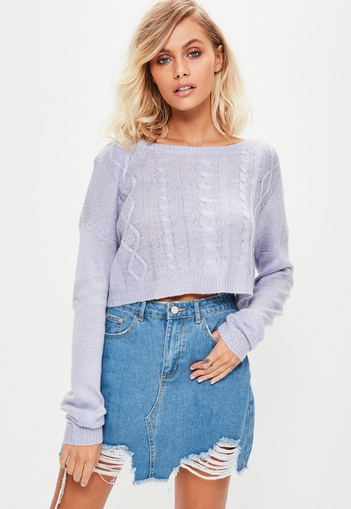 Purple Off Shoulder Cropped Sweater | Missguided