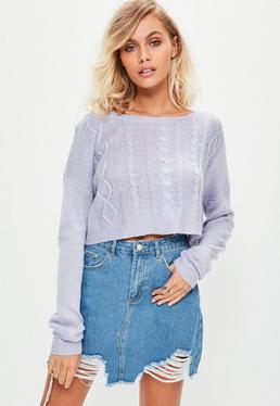 Purple Off Shoulder Cropped Sweater