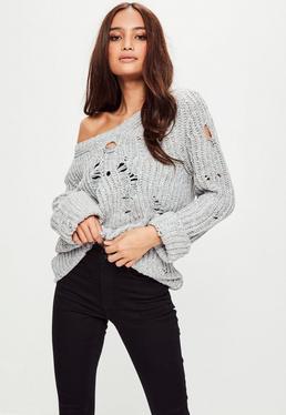 Grey Ladder Detail Yarn Sweater