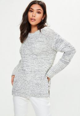 White Step Hem Sweater