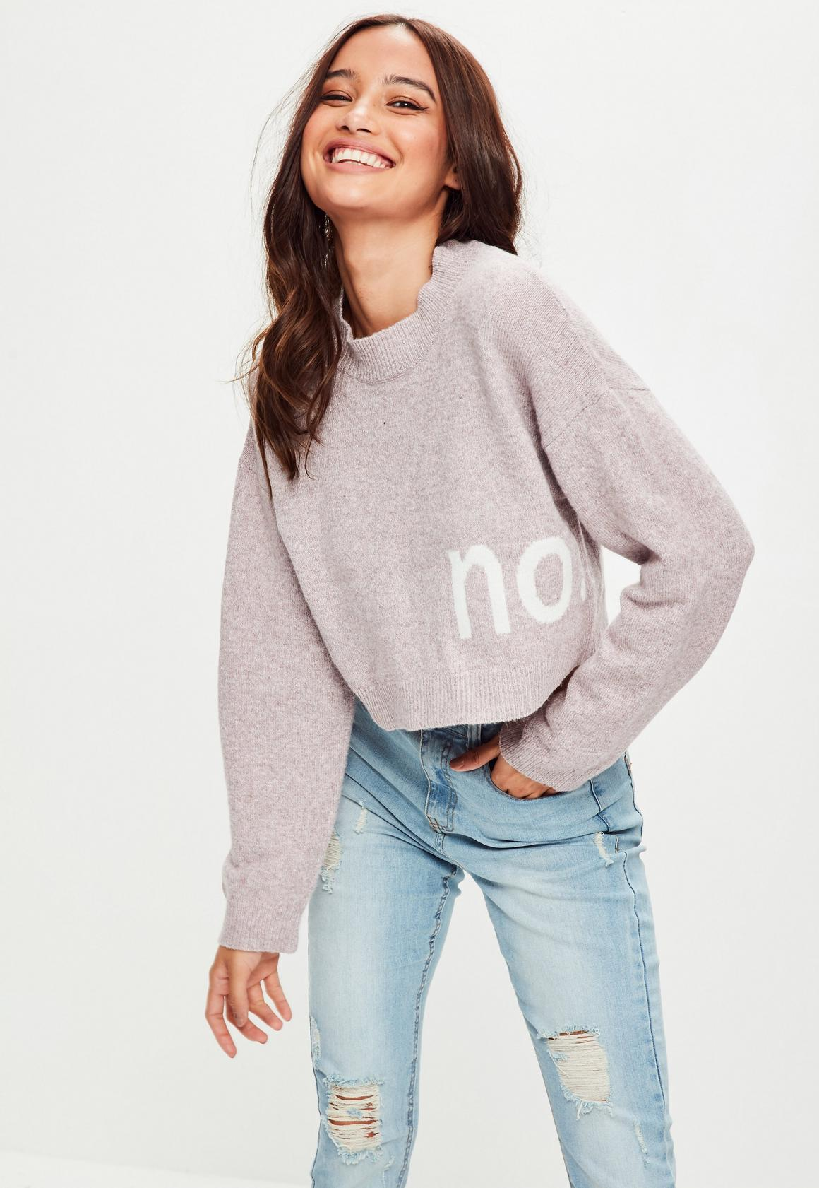 Pink Drop Shoulder Cropped Sweater | Missguided