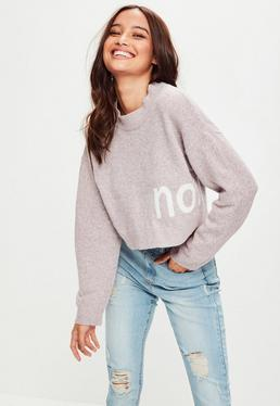 Pink Drop Shoulder Cropped Sweater
