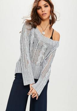 Silver Bardot Metallic Knitted Jumper