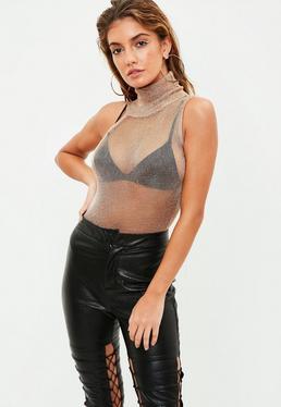 Copper Roll Neck Metallic Bodysuit