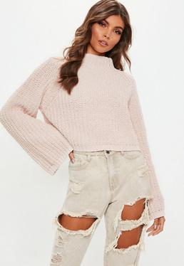 Pink Chenille Flare Sleeve Knitted Jumper