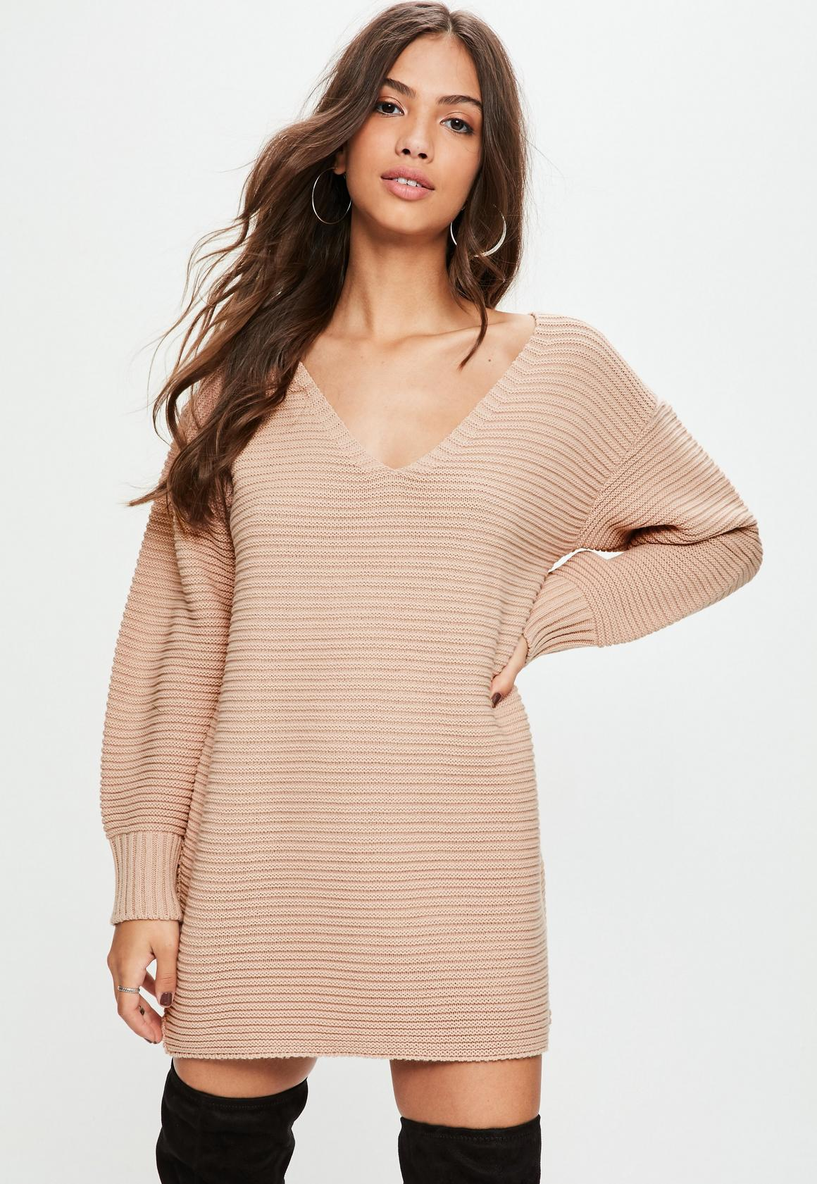 Nude V Front Knitted Sweater Dress | Missguided