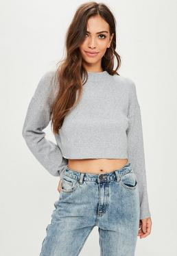 Grey Drop Shoulder Knitted Crop Sweater