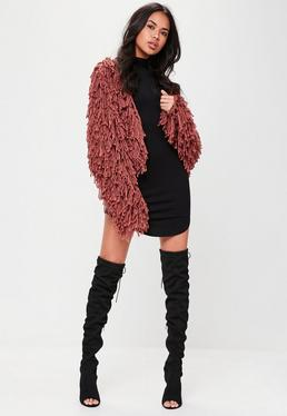 Red Shaggy Crop Cardigan
