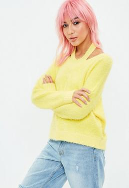 Yellow Halterneck Fluffy Crop Sweater