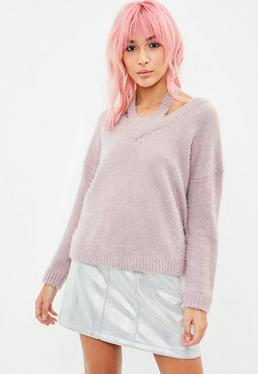 Mauve Halterneck Fluffy Crop Sweater