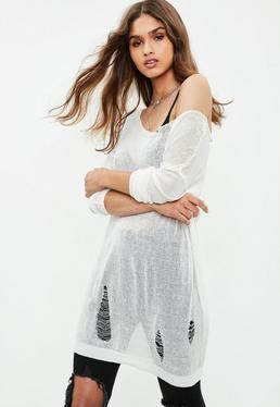White Sheer Laddered Oversized Sweater